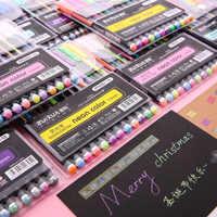 12 unids/set pluma de gel de color kawaii acuarela brillo Linda tinta plástico adorno Oficina lapices suministros papelería material kaleta