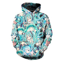 1bf0b831a9af SOSHIRL Summer Music Girl Hoody Kawaii Anime 3d Sweatshirts Women men  Hoodies Long-sleeved