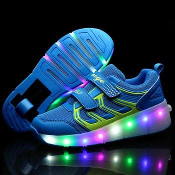 Nuevos zapatos de patinaje para niños, Zapatillas de deporte con luz LED rosa para niños y niñas 2020, zapato informal con Ruedas para chico, Zapatillas para chica