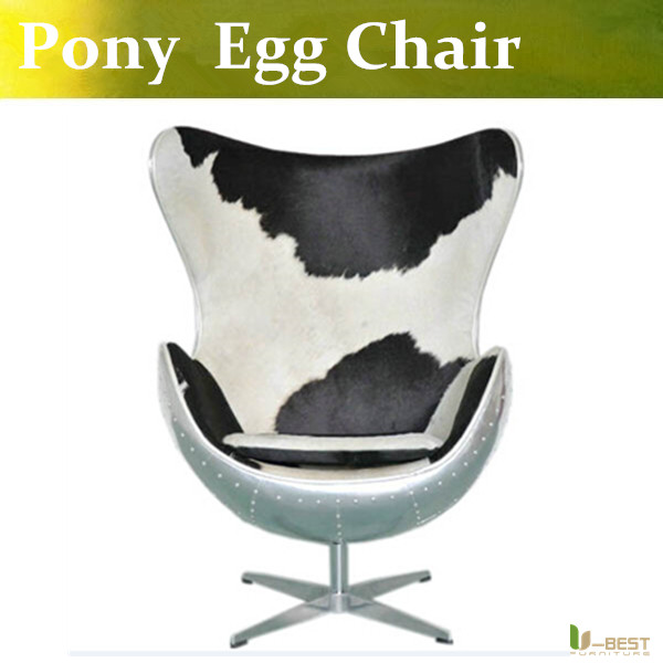 U-BEST Small Living Room egg chair and Contemporary Furniture,Loft style Armchair in pony leather home Loft Concept Accent Chair