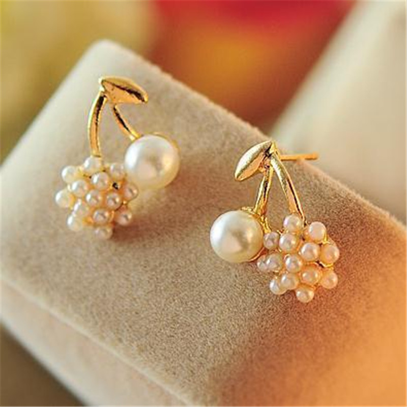 C140 Pendientes New Fashion Cherry Simulated Pearl Stud Earrings for Women Wedding Jewelry Girl Gift Promotion Brincos