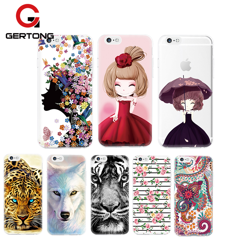 GerTong Pattern Case For iPhone 7 6 6S Plus 5 5S SE 4 4S Ultra Thin TPU Cute Animal Fruits Capa For iPhone 7 6 6S Cover Funda