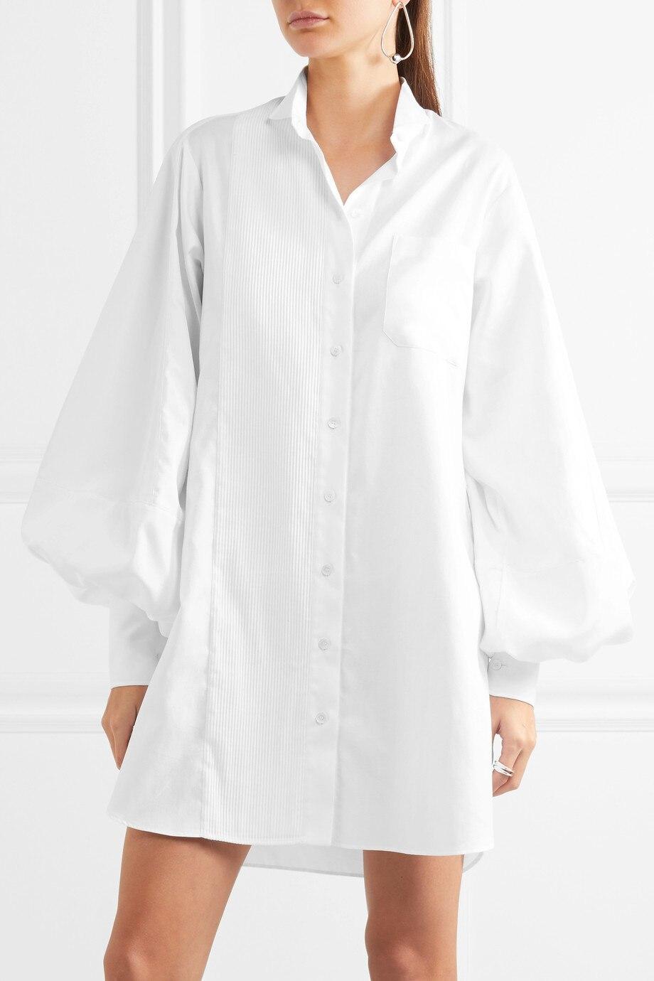 PADEGAO отложным Воротником епископ рукава дамы белые рубашки с длинным 2017 летняя мода женщины топы и случайные Взлетно-Посадочной Полосы блузки женский