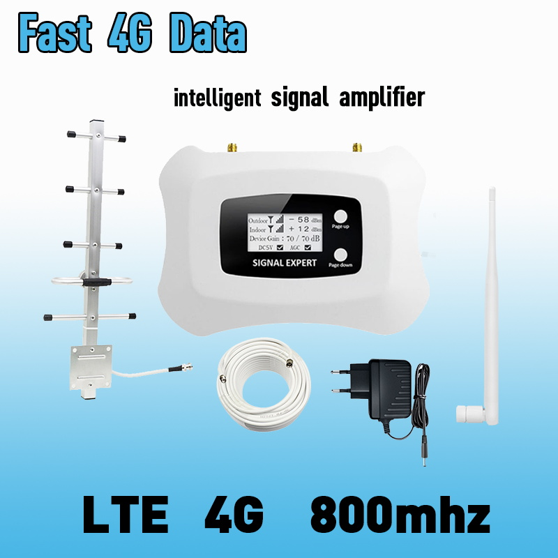 TFX-BOOSTER 4G LTE Mobile Signal Booster 800mhz High Gain 4g Signal Repeater Amplifier Kit With LCD + 350 Sqm Coverage