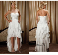 Short Front Long Back Country Western Wedding Dresses Sweetheart Chiffon High Low Bridal Gowns Cheap Beach Wedding Reception