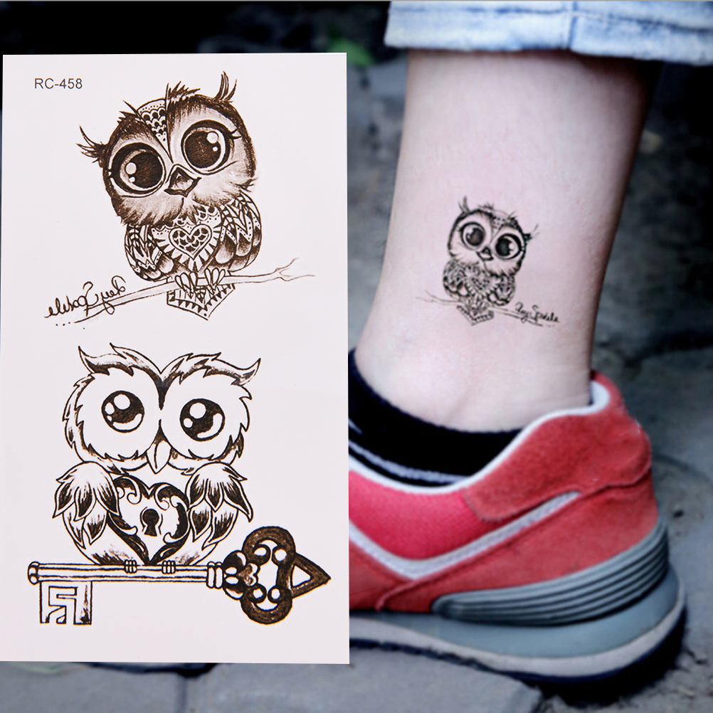 2pcs/set Cute Owl Arm Fake Transfer Tattoo Sexy Large Temporary Tattoos Sticker Men Women Body Art 105*60mm