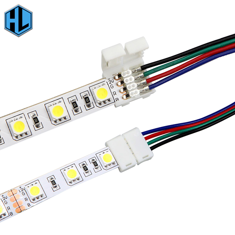 30 pcs LED Strip Connector 4pin 10mm with Wire Free Connect No Need Soldering Welding Connector For RGB 5050 Led Strip