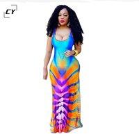 2017 Spring Tye Dye Print Deep V Neck Maxi Dresses Long Tank Sundress Sexy Club Dresses