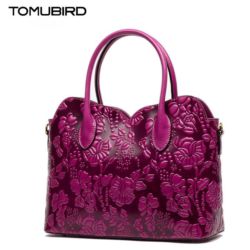 TOMUBIRD new Superior cowhide leather Designer Classic Ladies Embossed Floral Leather Tote Shoulder Handbags