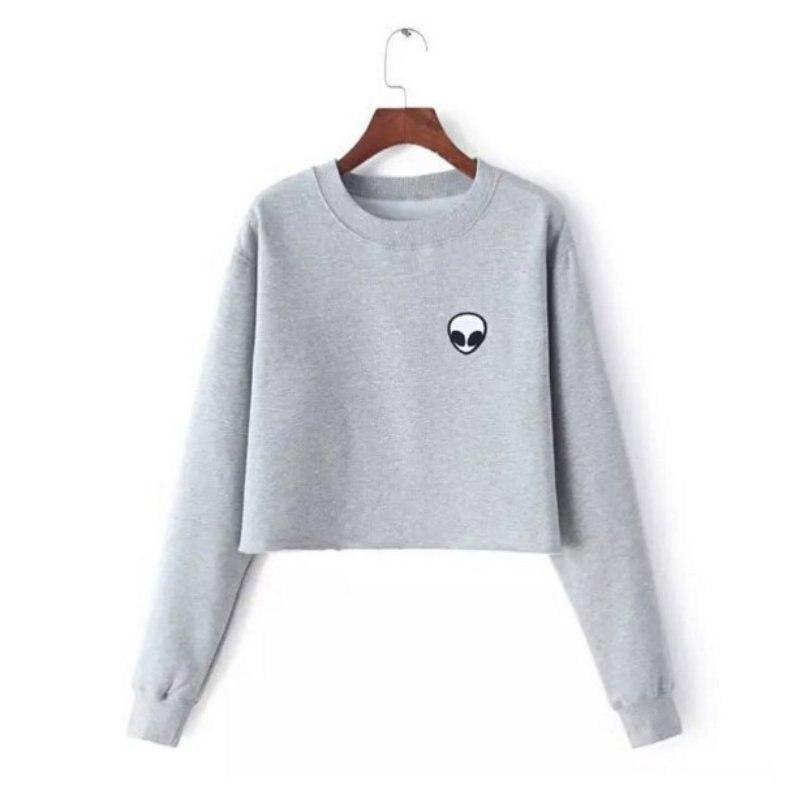 Sweatshirt Autumn Winter Fleece Hoodie Grey Black Cotton Long Sleeve Crewneck Tops Nancy Alien Patch Embroidery Cropped