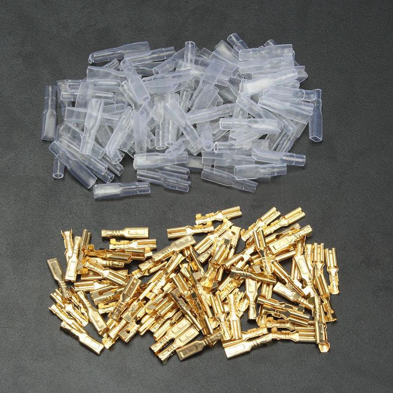100 sets 2.8mm Gold Crimp Electrical Terminal Spade Female Connectors & Insulating Sleeve Wrap Kit сумка kate spade new york wkru2816 kate spade hanna