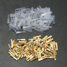 100 sets 2.8mm Gold Crimp Electrical Terminal Spade Female Connectors & Insulating Sleeve Wrap Kit