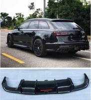 Carbon fiber Rear Bumper Lip Spoiler Diffuser Cover For AUDI A6 S6 Avant 2016 2017 2018 (With Lamp)