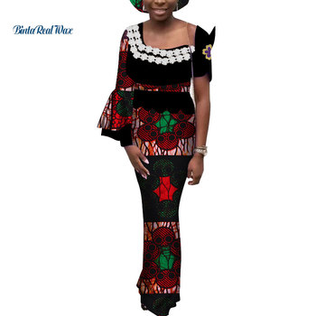 African Dresses for Women Applique Flower Dresses Bazin Riche Print Long Dresses Party Vestidos African Style Clothing WY3520