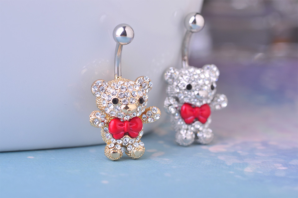 Cute Little Bear Red Bow Tie Belly Button Ring