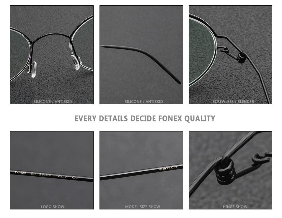 2f0cca9ed6 FONEX Screwless Eyewear Prescription Eyeglasses Round Morten Korean Glasses  Frames Men Moon Jae in Myopia Optical Italy Denmark 98607