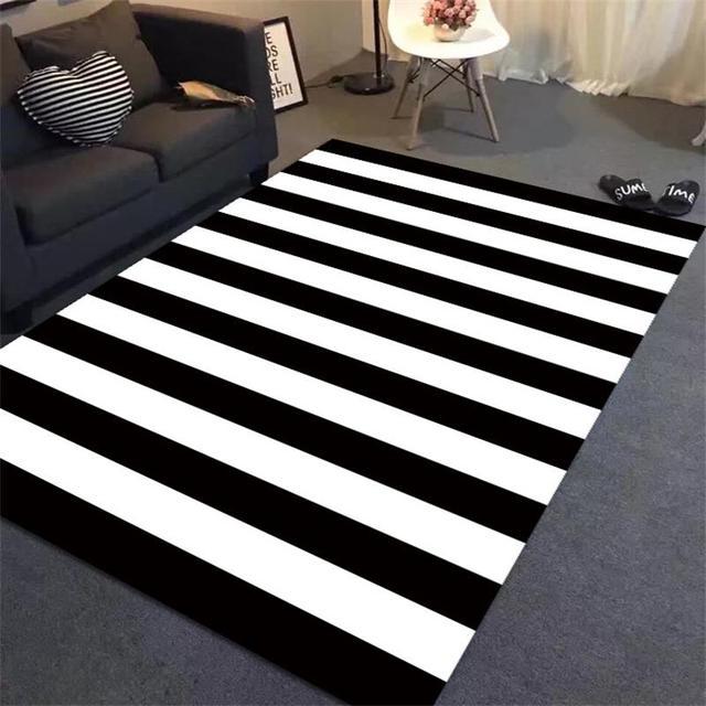 Einfache Schwarz Weiss Streifen Teppiche Fr Wohnzimmer Home Schlafzimmer Kinder Arbeitszimmer Bereich Teppich Kaffee