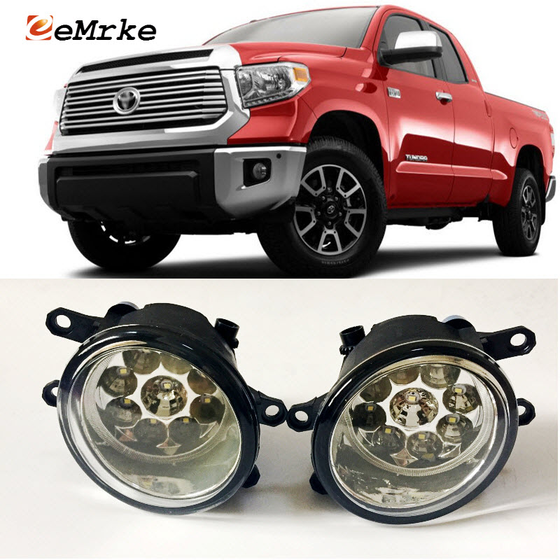 EEMRKE Car-Styling For Toyota Tundra 2014 2015 2016 2017 SMD 9-Pieces Led Halogen Fog Lights 12V 55W Fog Head Lamp fog light set 12v 55w car fog lights lamp for toyota hiace 2014 on clear lens wiring kit free shipping