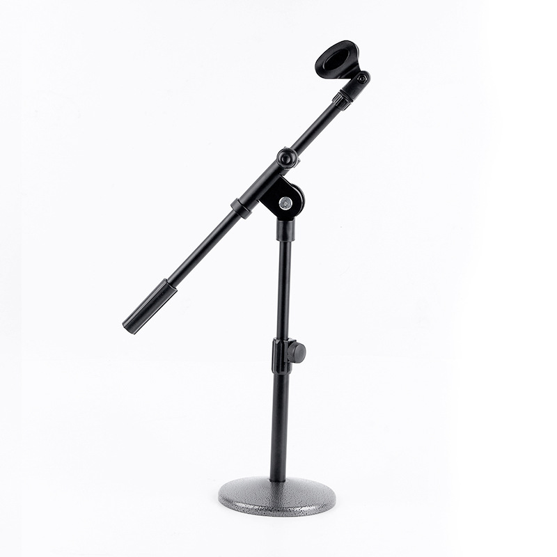 Adjustable Height Microphone Stand Dual Mic Clip Round Metal Weighted Base Boom Arm Tripod For Recording And Podcasting visual communication spotlights for exhibition and trade fairs 40cm long arm and 30cm extra height