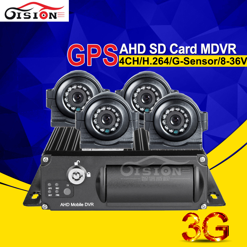 Front View AHD 4 Camera Mobile Dvr Recorder 3G Real Time Surveillance 4CH 1080 Car Dvr With GPS I/O Alarm Motion Detection