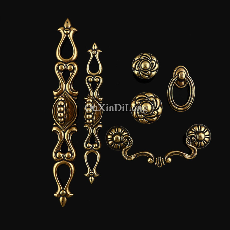 Top Designed 10PCS Furniture Handles European Antique Drawer Wardrobe Cupboard Shoe Cabinet Kitchen Pull Handles and Knobs