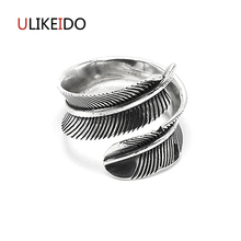 купить Real 925 Sterling Silver Jewelry Feather Rings Vintage Thai Silver Ring For Men And Women Birthday Fine Gift  548 дешево