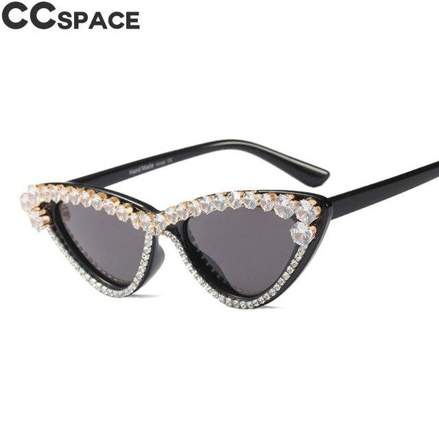 891f91599c0 45571 Luxury Diamond Sunglasses Cat Eye Women Trendy Shades CCSPACE Vintage Brand  Glasses Designer Fashion Female