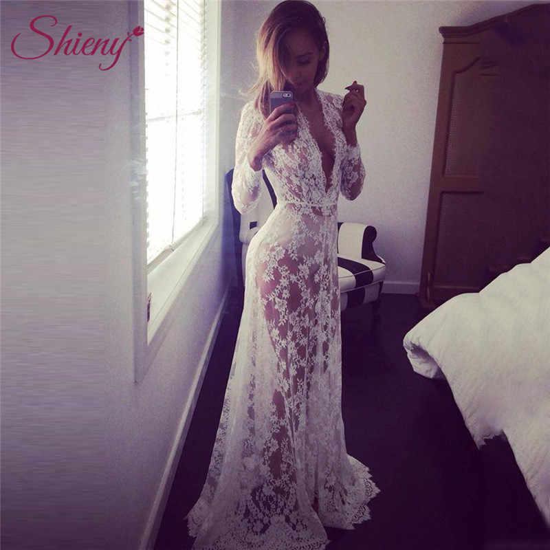 3ccebd0822e9c Shieny 2019 Long Dress Bikini Cover Ups Women Dress Solid Lace Sexy Beach  Pareo Swimsuit Plus