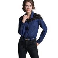 Fall 2017 Women Denim Shirt Blouse Lace Shoulder Patchwork Blue Long Sleeve Jeans Blouse Blusa Camisa