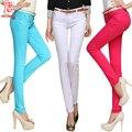 Calças das mulheres calças de cores Doces mulheres & capris verão 2016 algodão casual Calças skinny lápis MODA Jeans femme para feminino