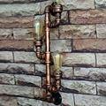 Moda Wroguht Ferro Tubulação de Água Lâmpada de Parede 3 Cabeças Luz Sótão Ferro Lâmpada de Parede Do Corredor Do Vintage Edison Lâmpada Incandescente