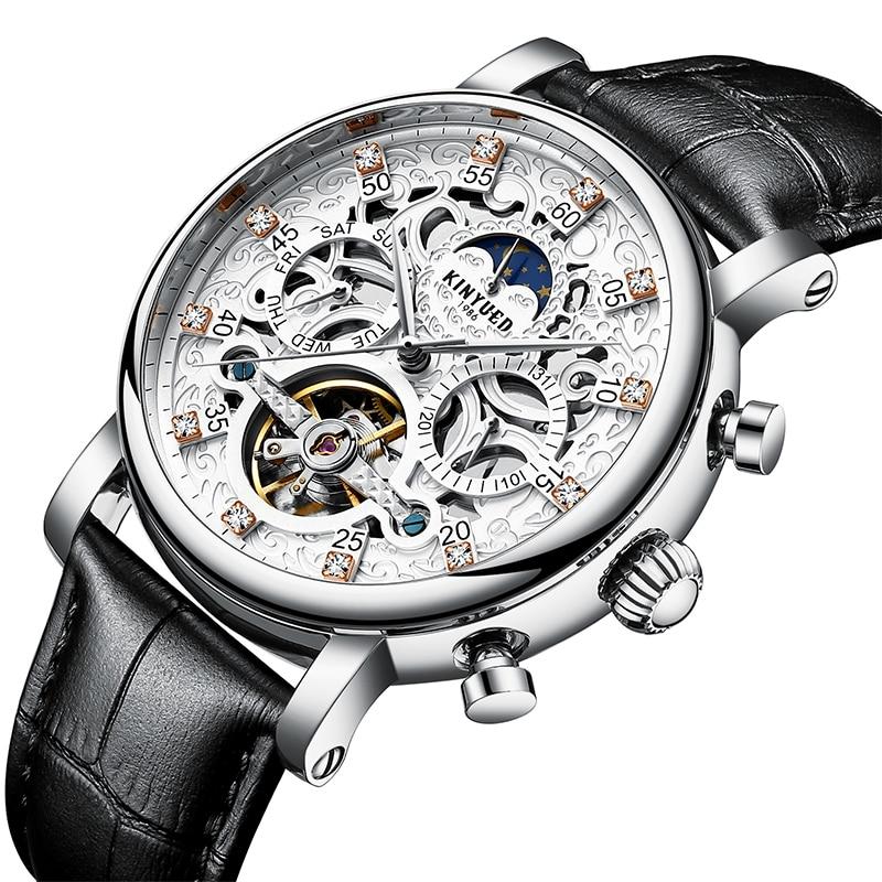 Kinyued 브랜드 남자 시계 자동 기계 플라잉 뚜르 비옹 시계 남자 패션 해골 문 일 달력 손목 시계-에서기계식 시계부터 시계 의  그룹 1