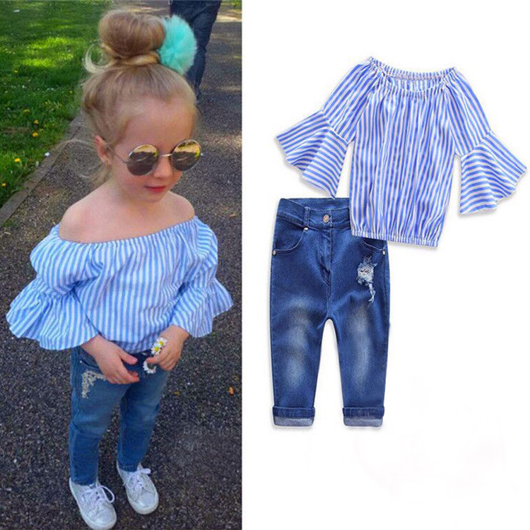 Spring Princess Baby Girls Clothing Sets 2018 O-neck Striped Shirt Jeans 2 Piece Set Girl Kids Costume Children Clothes 3cs295
