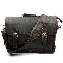 Genuine Leather Crazy Horse Vintage Men Business Portable Shoulder Messenger Bag Chocolate Flap Laptop Handbags&Crossbody Bags
