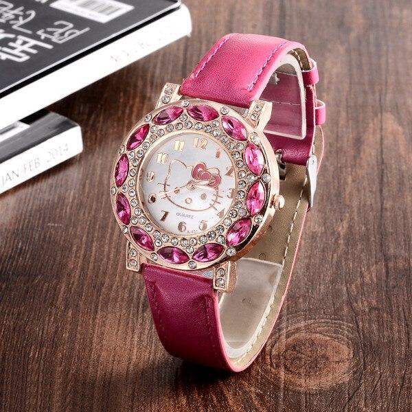 Hello Kitty Watches Kids Watches Luxury Rhinestone Children Watch Cute Cartoon Watch Baby Leather Strap Clock Gift montre enfant