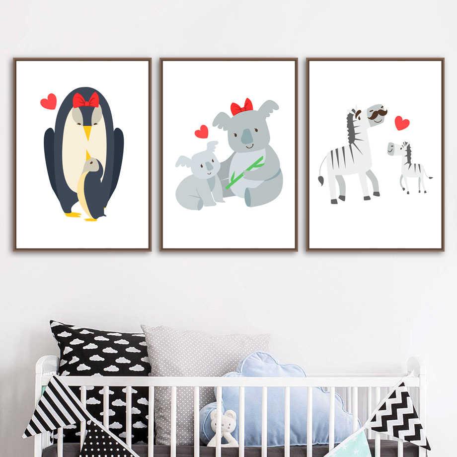 Животные семья Зебра коала обезьяна Пингвин стены книги по искусству холст картины Nordic плакат принты настенные картины для маленьких детск