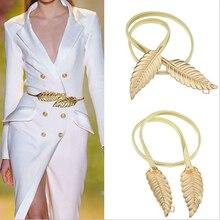 Новые Модные Женщины Металлические Листья Эластичный Пояс Платье Пояса Ремень Пояс Продвижение Продажа Оптом