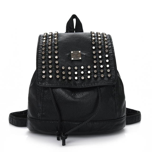 New High quality soft PU leather female backpack leisure school backpack black women's rivets women's shoulder bag Flap Pocket