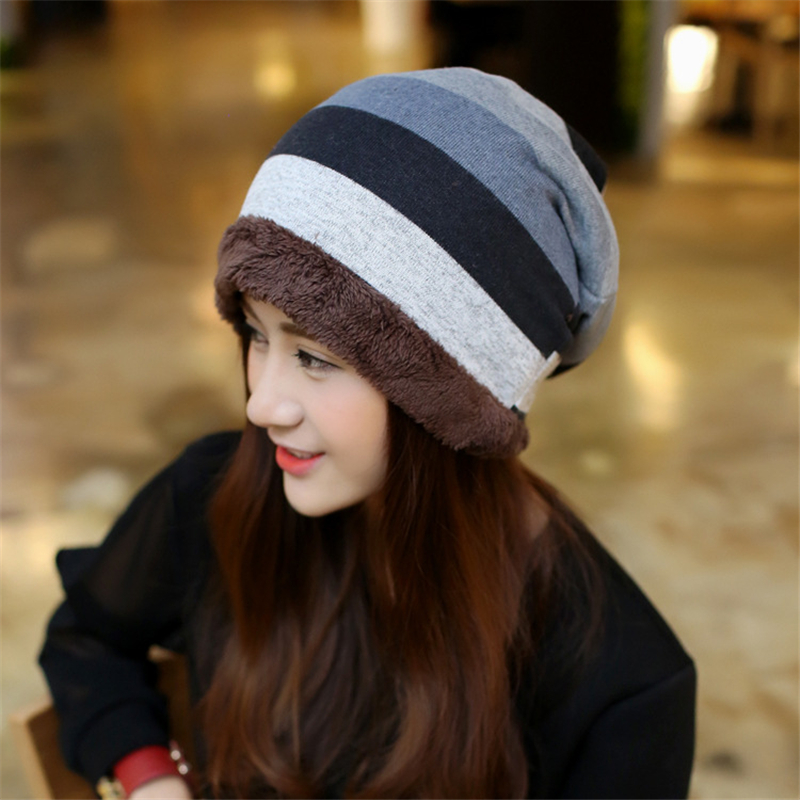 New arrival winter cap fashion striped beanie velvet thicken warm hats for women gorro mujer invierno turban hat ears warm new arrival winter hats women fashion colorful hair ball caps thicken knitted beanie ears warm skullies gorros mujer invierno