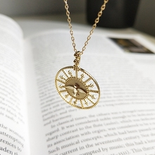 LouLeur 925 sterling silver openwork round bird pendant necklace gold lucky roulette creative necklace for women fine jewelry