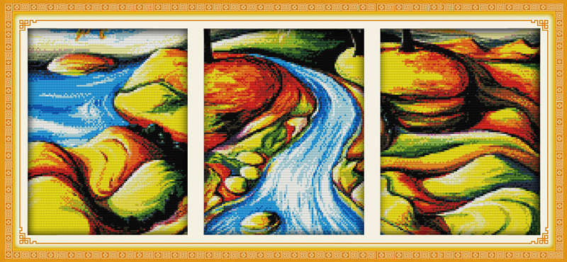 The flowing river (triptych Counted Cross Stitch 11CT Printed 14CT Set DIY Chinese Cotton Cross-stitch Kit Embroidery Needlework
