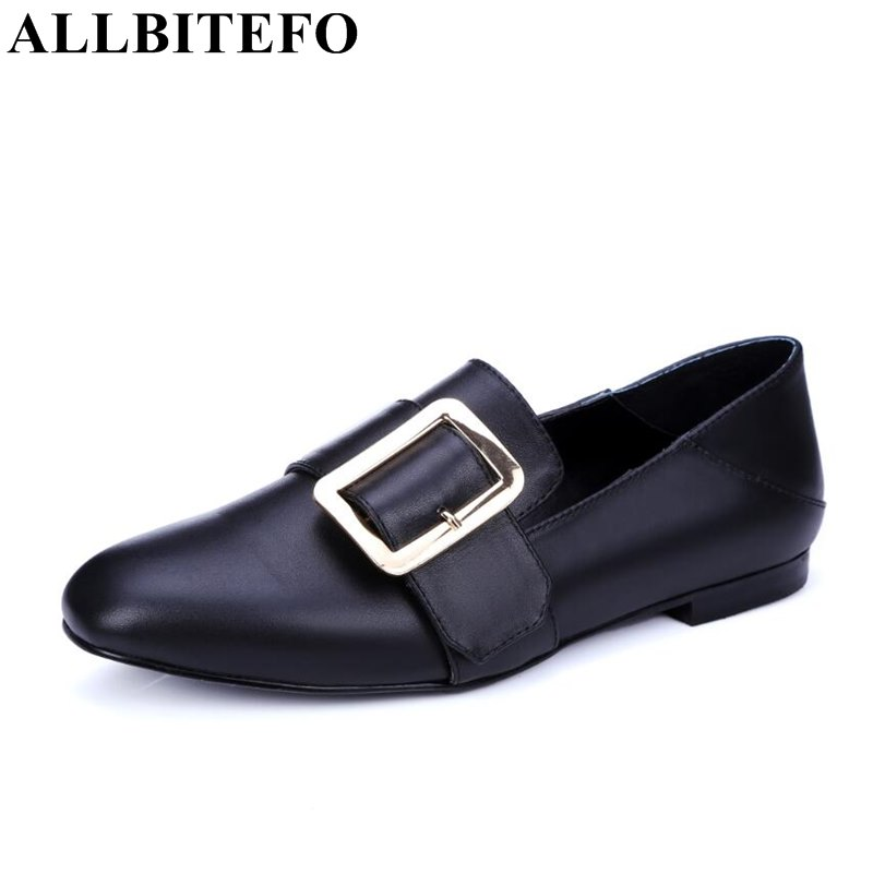 ФОТО ALLBITEFO new arrive genuine leather buckle high quality women flats fashion casual square toe soft comfortable flat shoes woman