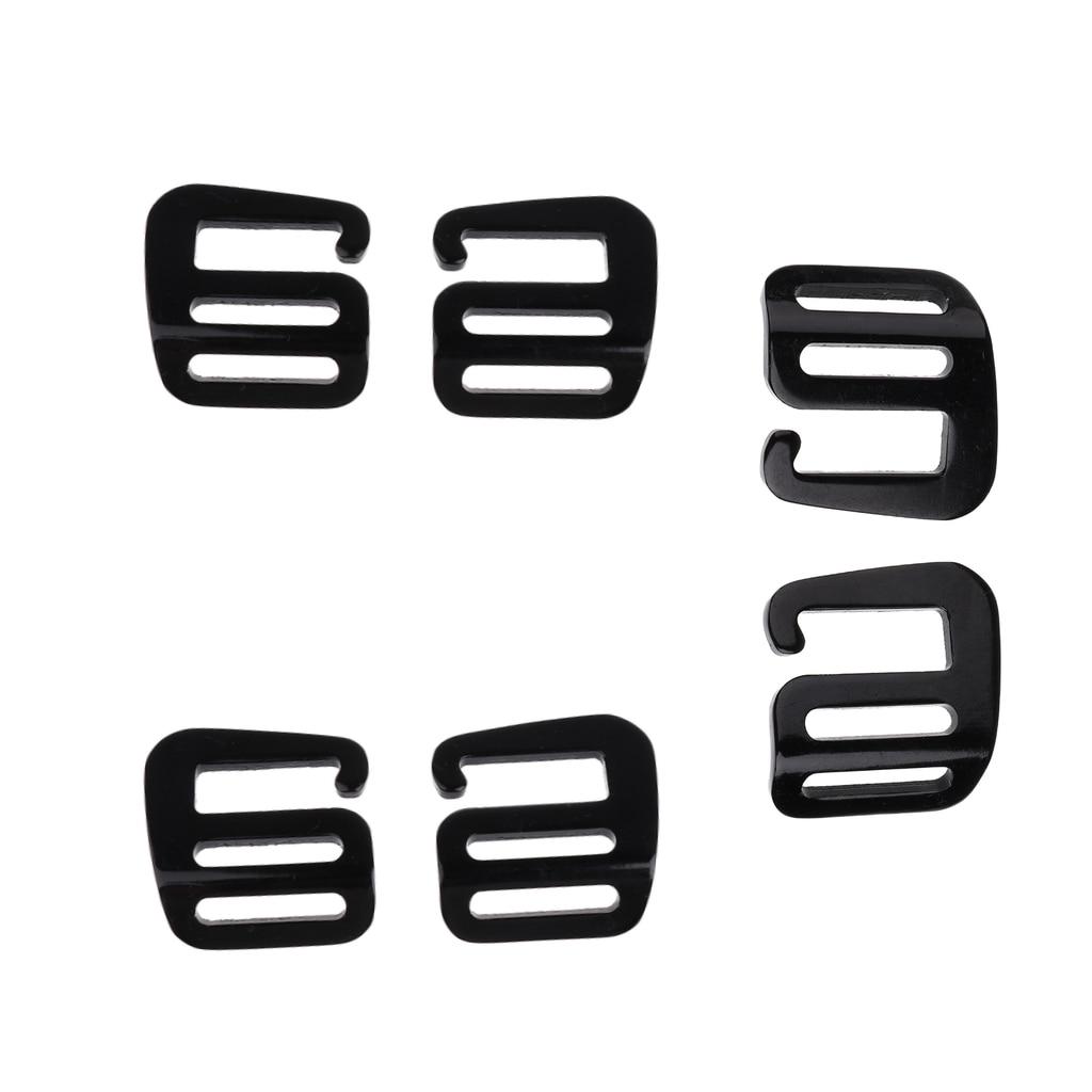 6 Pieces Aluminum G Hook Crochet Strap Band Loop Webbing Buckle Belt 25mm/1 Inch Backpack Outdoor Accessories Black