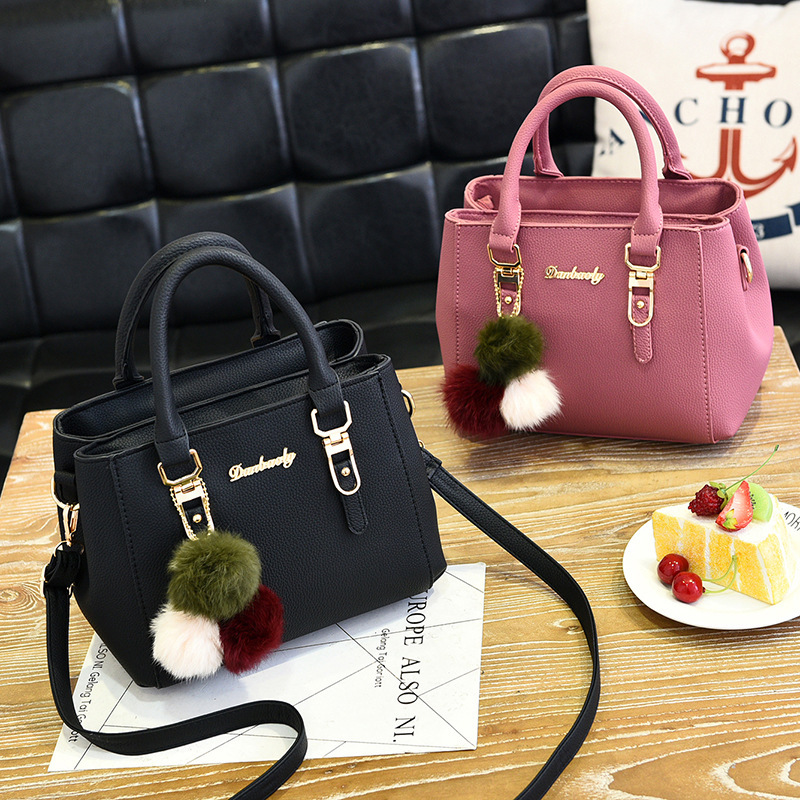 Image 3 - Fashion women hairball ornaments totes solid high quality handbag hotsale party purse ladies messenger crossbody shoulder bags-in Shoulder Bags from Luggage & Bags