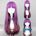 60CM Cheap Quality Long Straight Purple Ombre Color Wig Hairstyles Kanekalon Heat Resistant Wig Harajuku Lolita Anime Wig