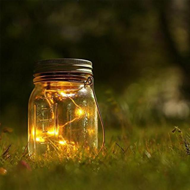 Einmachglas Led Deko Leuchte Gartenlampe Lampe Milchglas 4 Farben