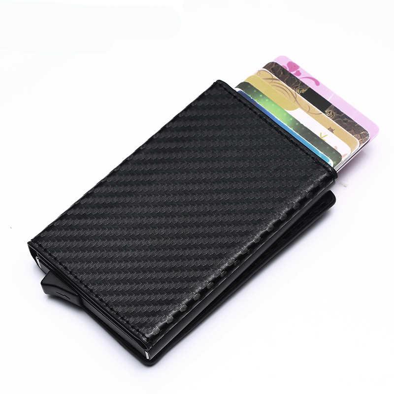 BISI GORO держатель для кредитных карт 2019 Новая алюминиевая открытка-коробка кошелек RFID PU кожаная открытка-раскладушка чехол Магнит карбоновый Кошелек для монет