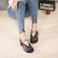 Floral Shoes Female Summer 2018 Soft Flat Shoes Woman Natural Leather Elegant Round Toe Elastic Band