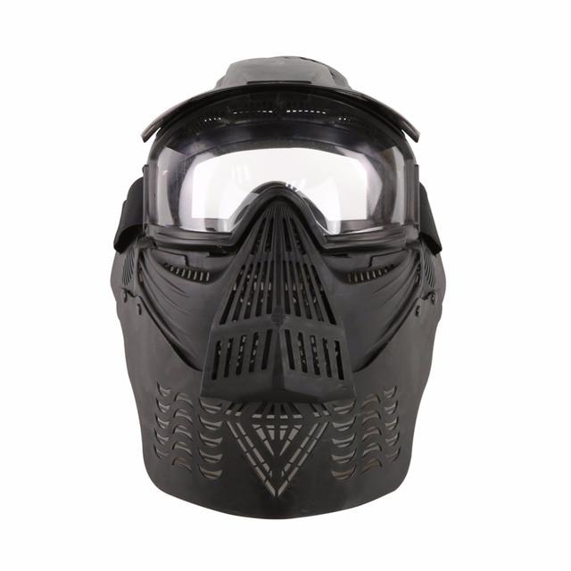 WoSporT צבאי מלא פנים טקטי פיינטבול מסכת Airsoft מסכת עדשה עם משקפי & צוואר להגן עבור חיצוני CS אבזר