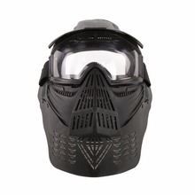 WoSporT Military Full Face Tactical Paintball Mask Airsoft Lens Mask with Goggles & Neck Protect for Outdoor CS Accessory